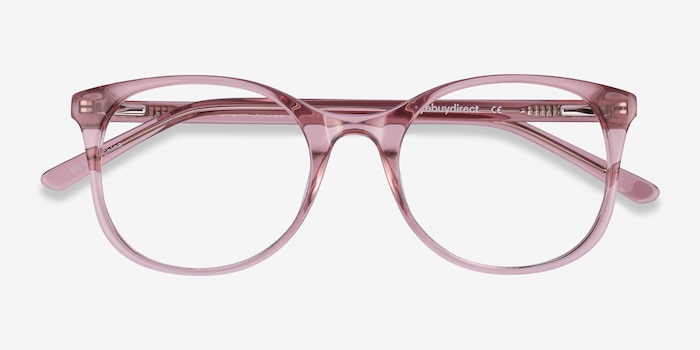 Greta Clear Pink Acetate Eyeglass Frames from EyeBuyDirect, Closed View