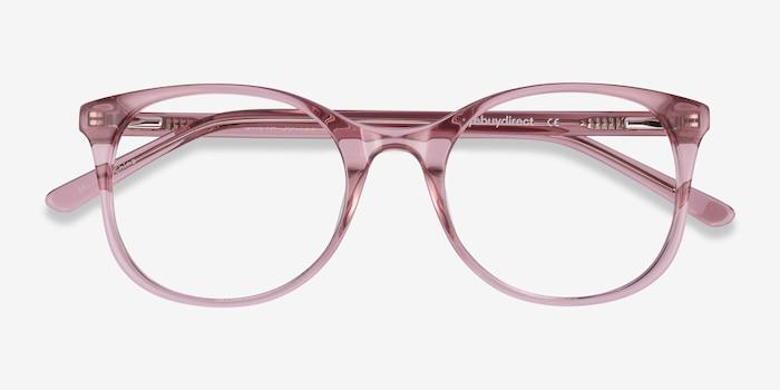 Greta Clear Pink Acétate Montures de Lunette de vue d'EyeBuyDirect, Vue Rapprochée