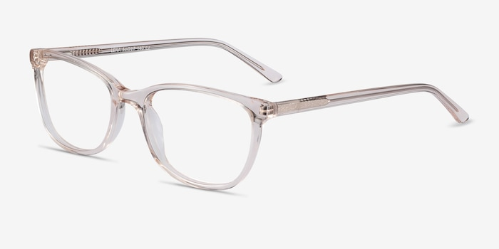 Lena Clear Beige Acetate Eyeglass Frames from EyeBuyDirect, Angle View