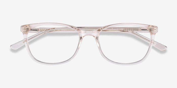 Lena Clear Beige Acetate Eyeglass Frames from EyeBuyDirect, Closed View