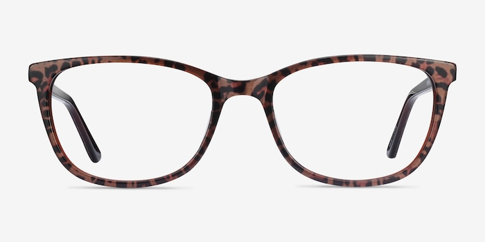 Lena Leopard Acetate Eyeglass Frames from EyeBuyDirect, Front View