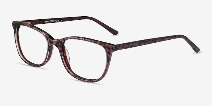 Lena Leopard Acetate Eyeglass Frames from EyeBuyDirect, Angle View
