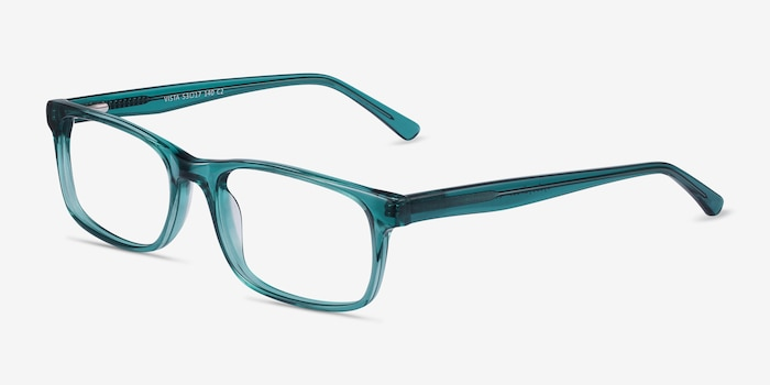 Vista Teal Acetate Eyeglass Frames from EyeBuyDirect, Angle View
