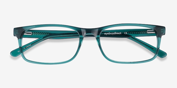 Vista Teal Acetate Eyeglass Frames from EyeBuyDirect, Closed View