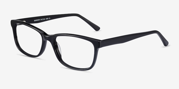 Marion Black Acetate Eyeglass Frames from EyeBuyDirect, Angle View