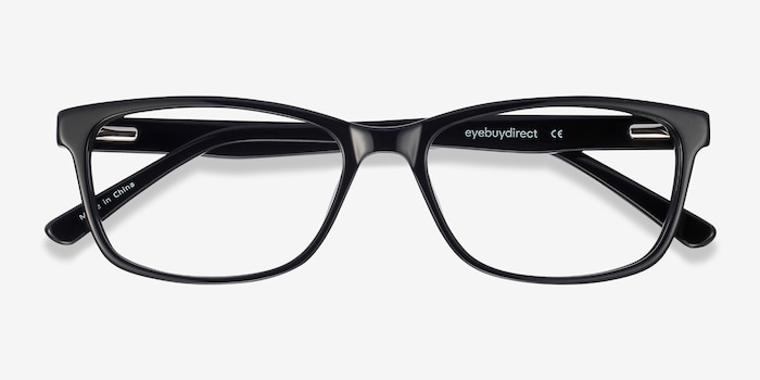 Marion Black Acetate Eyeglass Frames from EyeBuyDirect, Closed View