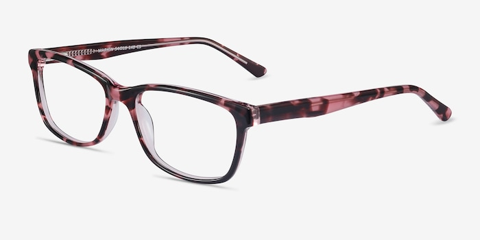 Marion Pink Tortoise Acetate Eyeglass Frames from EyeBuyDirect, Angle View
