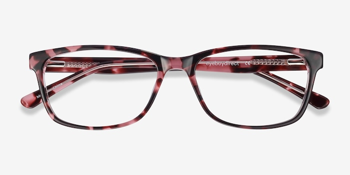 Marion Pink Tortoise Acetate Eyeglass Frames from EyeBuyDirect, Closed View