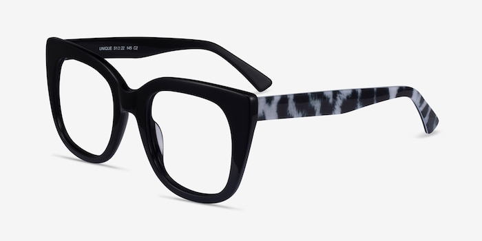 Unique Black & Panther Acetate Eyeglass Frames from EyeBuyDirect, Angle View