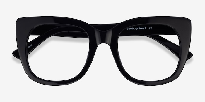 Unique Black & Panther Acetate Eyeglass Frames from EyeBuyDirect, Closed View