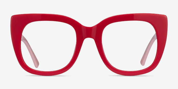 Unique Red & Pink Acetate Eyeglass Frames from EyeBuyDirect, Front View