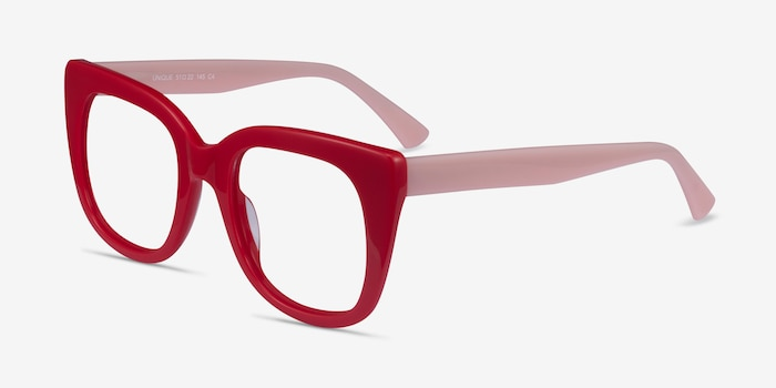 Unique Red & Pink Acetate Eyeglass Frames from EyeBuyDirect, Angle View