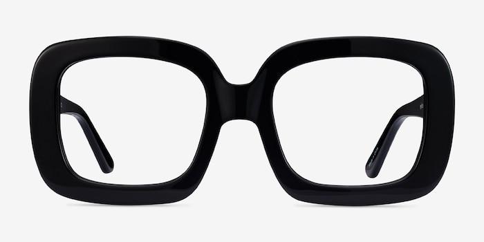 Gloria Black Acetate Eyeglass Frames from EyeBuyDirect, Front View