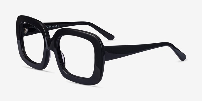 Gloria Black Acetate Eyeglass Frames from EyeBuyDirect, Angle View