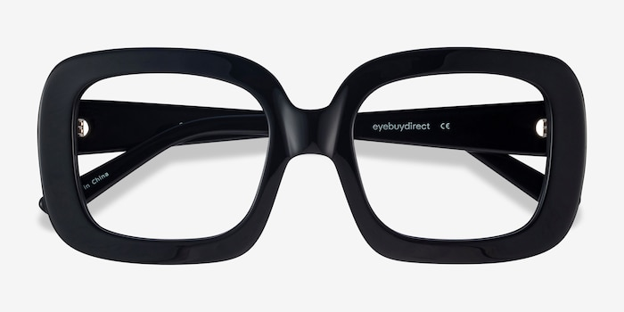 Gloria Black Acetate Eyeglass Frames from EyeBuyDirect, Closed View