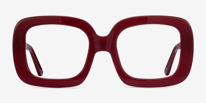 Gloria Burgundy Acetate Eyeglass Frames from EyeBuyDirect, Front View