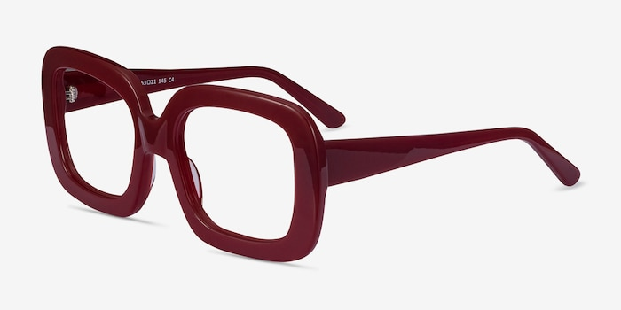 Gloria Burgundy Acetate Eyeglass Frames from EyeBuyDirect, Angle View