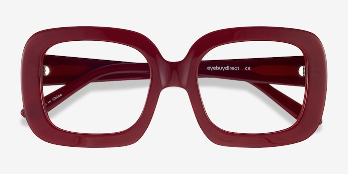 Gloria Burgundy Acetate Eyeglass Frames from EyeBuyDirect, Closed View