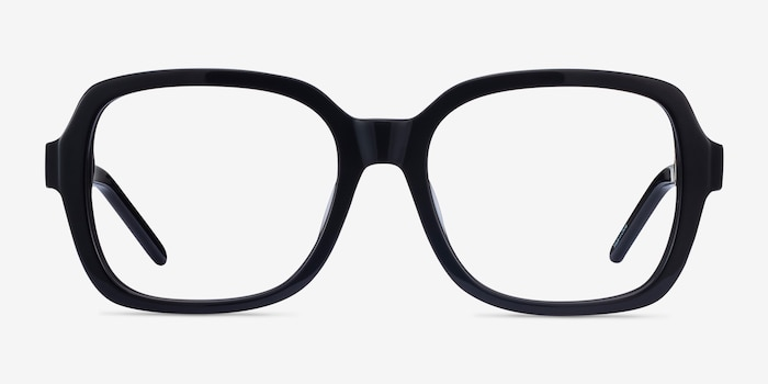 Renee Black Acetate Eyeglass Frames from EyeBuyDirect, Front View