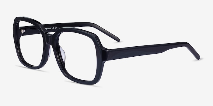 Renee Black Acetate Eyeglass Frames from EyeBuyDirect, Angle View