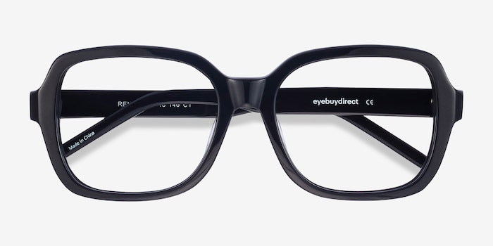 Renee Black Acetate Eyeglass Frames from EyeBuyDirect, Closed View
