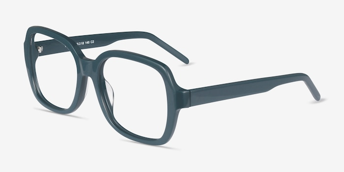Renee Teal Acetate Eyeglass Frames from EyeBuyDirect, Angle View