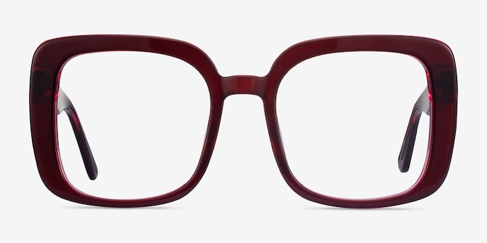 Heather Burgundy Acetate Eyeglass Frames from EyeBuyDirect, Front View