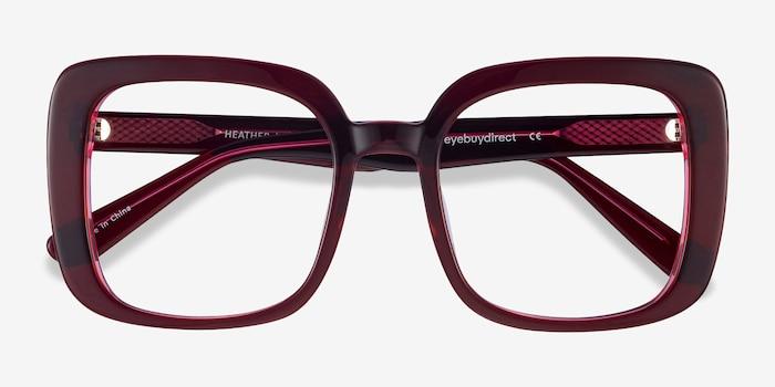 Heather Burgundy Acetate Eyeglass Frames from EyeBuyDirect, Closed View