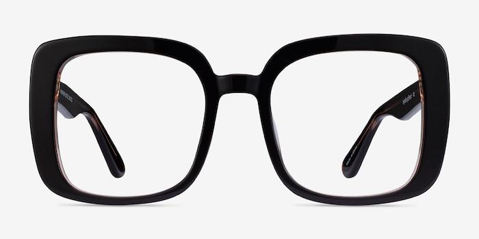 Heather Dark Coffee Acetate Eyeglass Frames from EyeBuyDirect, Front View