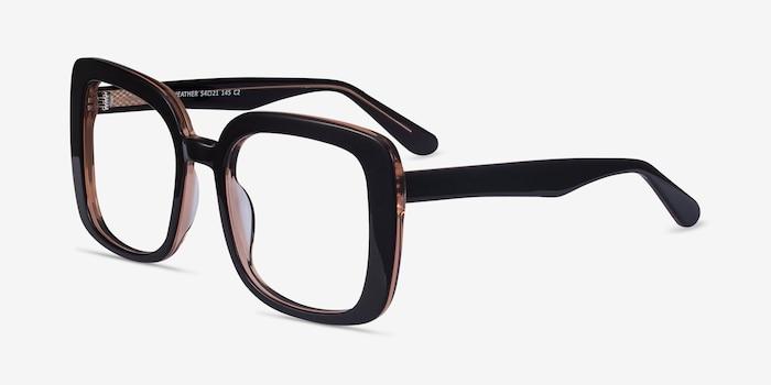 Heather Dark Coffee Acetate Eyeglass Frames from EyeBuyDirect, Angle View