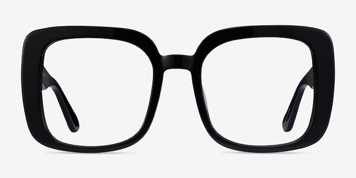 Heather Black Acetate Eyeglass Frames from EyeBuyDirect, Front View