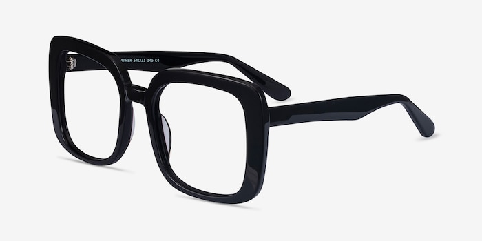 Heather Black Acetate Eyeglass Frames from EyeBuyDirect, Angle View