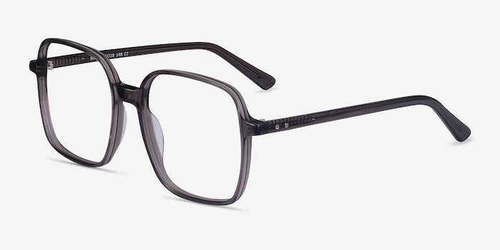 Sixto Gray Acetate Eyeglass Frames from EyeBuyDirect, Angle View