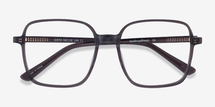 Sixto Gray Acetate Eyeglass Frames from EyeBuyDirect, Closed View