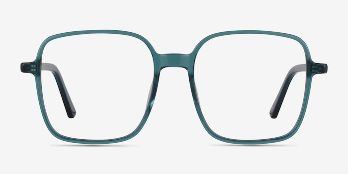 Sixto Teal Acetate Eyeglass Frames from EyeBuyDirect, Front View