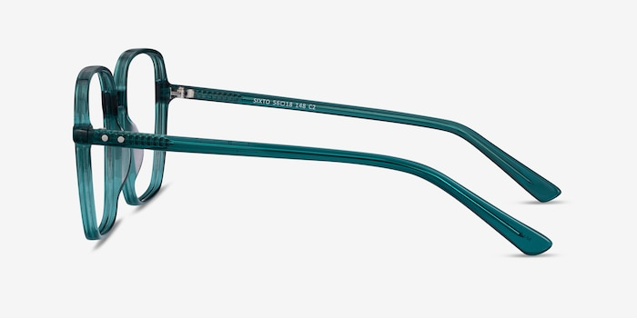 Sixto Teal Acetate Eyeglass Frames from EyeBuyDirect, Side View