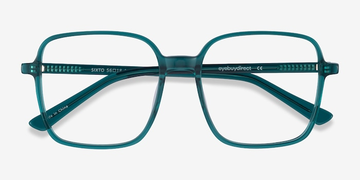 Sixto Teal Acetate Eyeglass Frames from EyeBuyDirect, Closed View