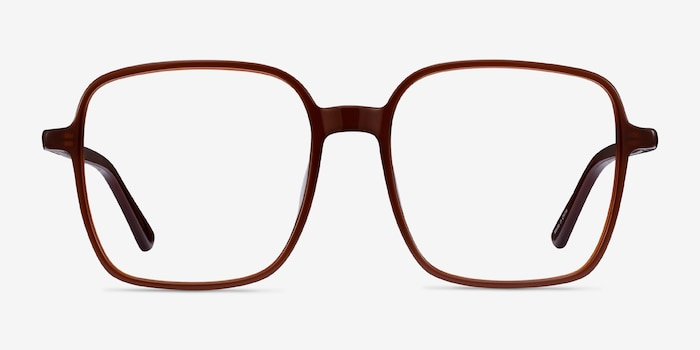 Sixto Coffee Acetate Eyeglass Frames from EyeBuyDirect, Front View