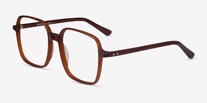 Sixto Coffee Acetate Eyeglass Frames from EyeBuyDirect, Angle View