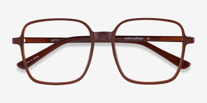Sixto Coffee Acetate Eyeglass Frames from EyeBuyDirect, Closed View