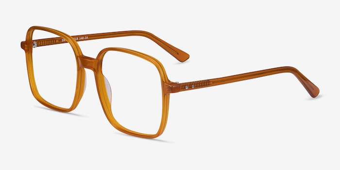 Sixto Mellow Yellow Acetate Eyeglass Frames from EyeBuyDirect, Angle View