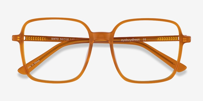 Sixto Mellow Yellow Acetate Eyeglass Frames from EyeBuyDirect, Closed View