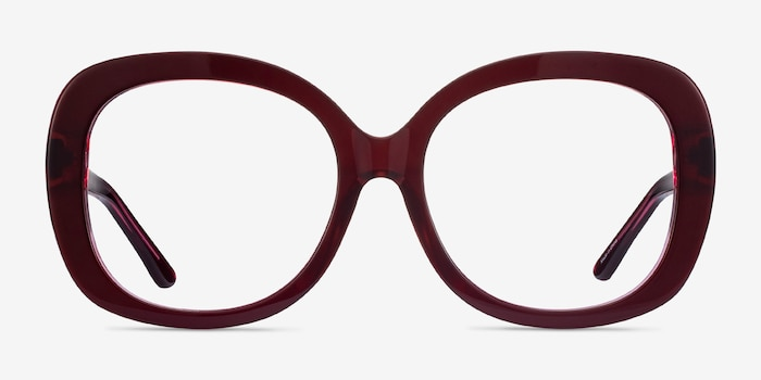 Pamela Burgundy Acetate Eyeglass Frames from EyeBuyDirect, Front View