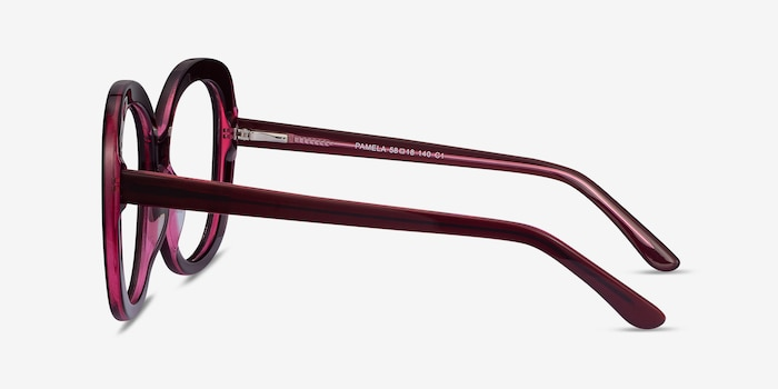 Pamela Burgundy Acetate Eyeglass Frames from EyeBuyDirect, Side View