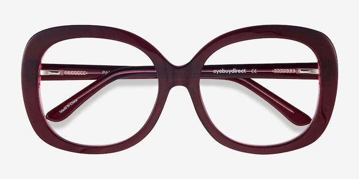 Pamela Burgundy Acetate Eyeglass Frames from EyeBuyDirect, Closed View