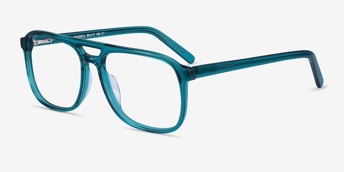 Russell Teal Acetate Eyeglass Frames from EyeBuyDirect, Angle View