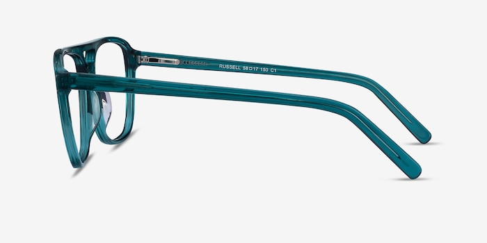 Russell Teal Acetate Eyeglass Frames from EyeBuyDirect, Side View