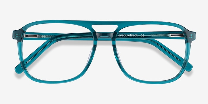 Russell Teal Acetate Eyeglass Frames from EyeBuyDirect, Closed View
