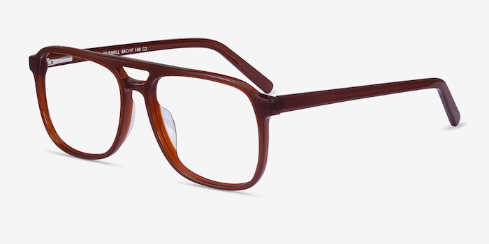 Russell Brown Acetate Eyeglass Frames from EyeBuyDirect, Angle View