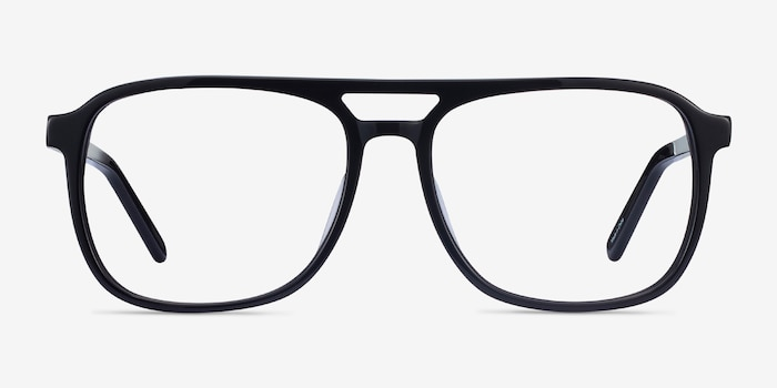 Russell Black Acetate Eyeglass Frames from EyeBuyDirect, Front View